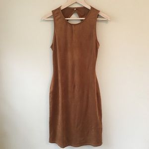 Dresses & Skirts - Fitted Suede Open Back Dress